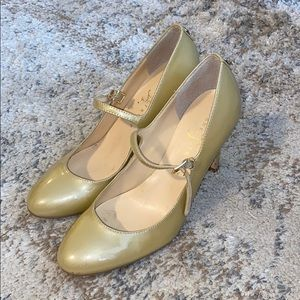 Nude/gold toned Mary Jane style pumps
